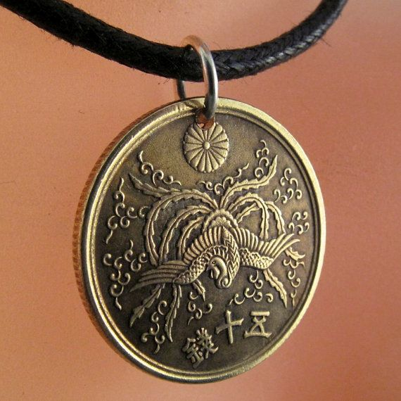 Coin necklace japanese jewelry pendant 50 sen phoenix coin necklace japanese jewelry pendant 50 sen phoenix chrysanthemum oriental mozeypictures Images