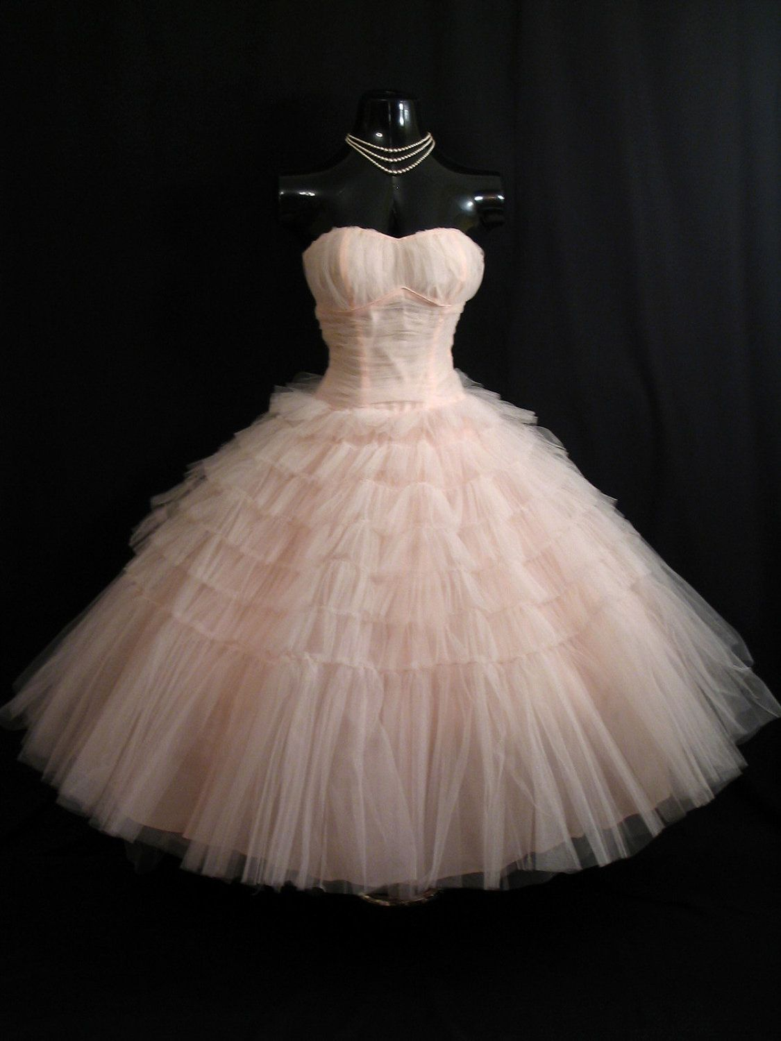 Vintage 1950's Pink Tiered Layered Circle Skirt Party Prom Dress