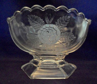 Antique EAPG Victorian Pattern Glass ROSE SPRIG BOWL Jones, Cavitt & Co. 1886