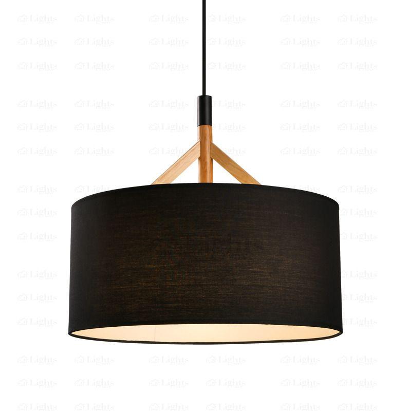 Brief Drum Pendant Light Fabric Shade Black Drum Pendant