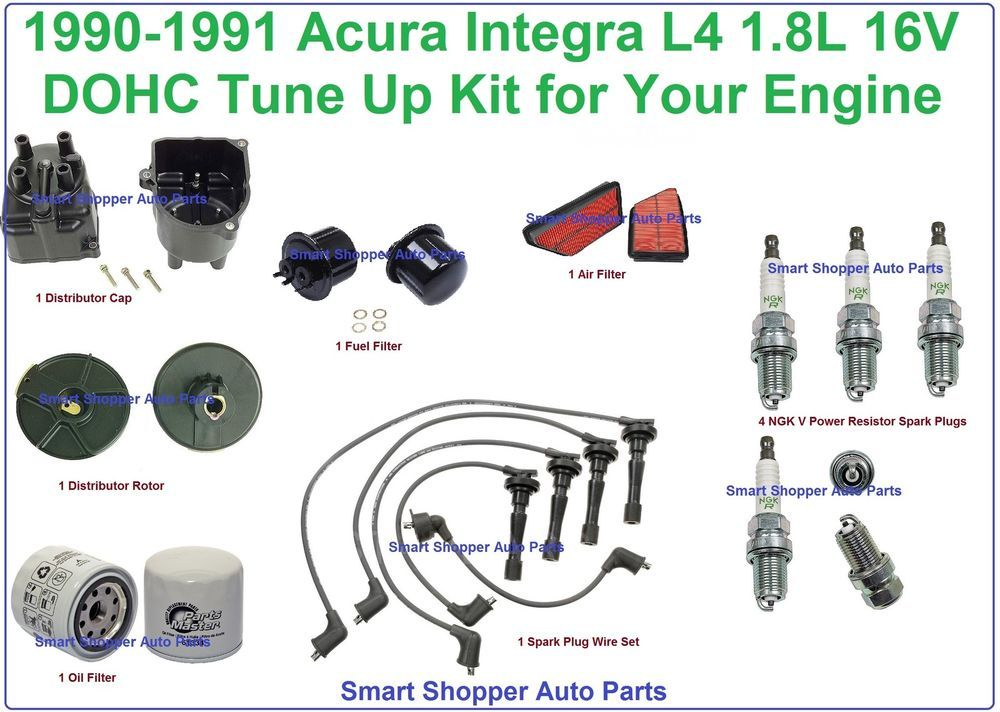 90 91 Acura Integra Tune Up Kit Distr Cap Rotor Engine Filter