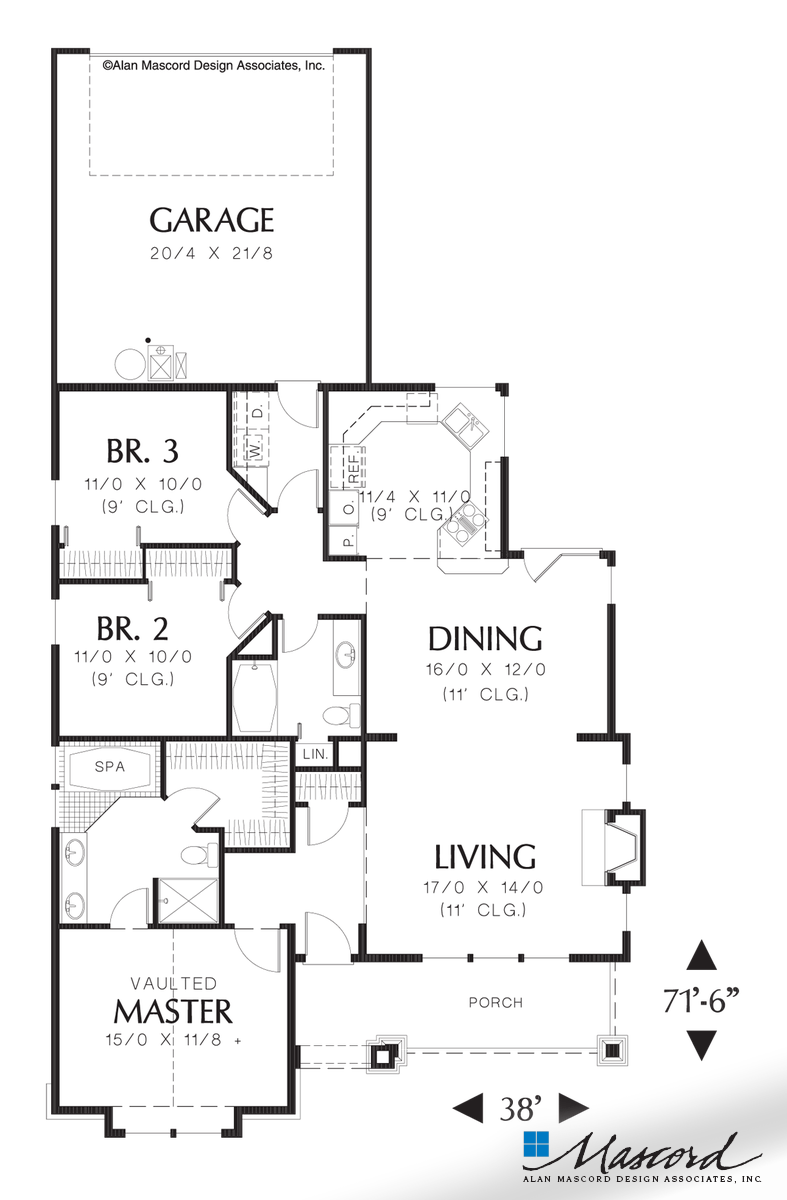 Main Floor Plan Of Mascord Plan 1101 The Brogan One Level Plan With Garage In Back Narrow House Plans Garage House Plans Narrow Lot House Plans