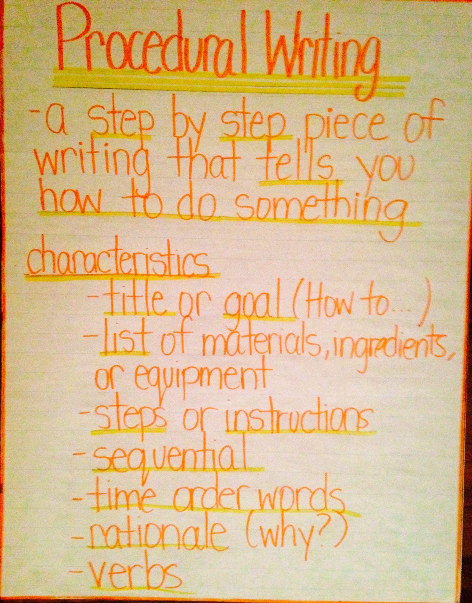 Procedural Writing Anchor Chart