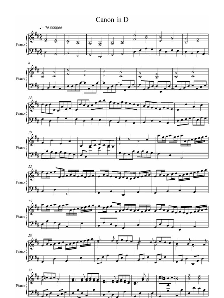 Pachelbel Canon In D Piano Version Free Download As Pdf File