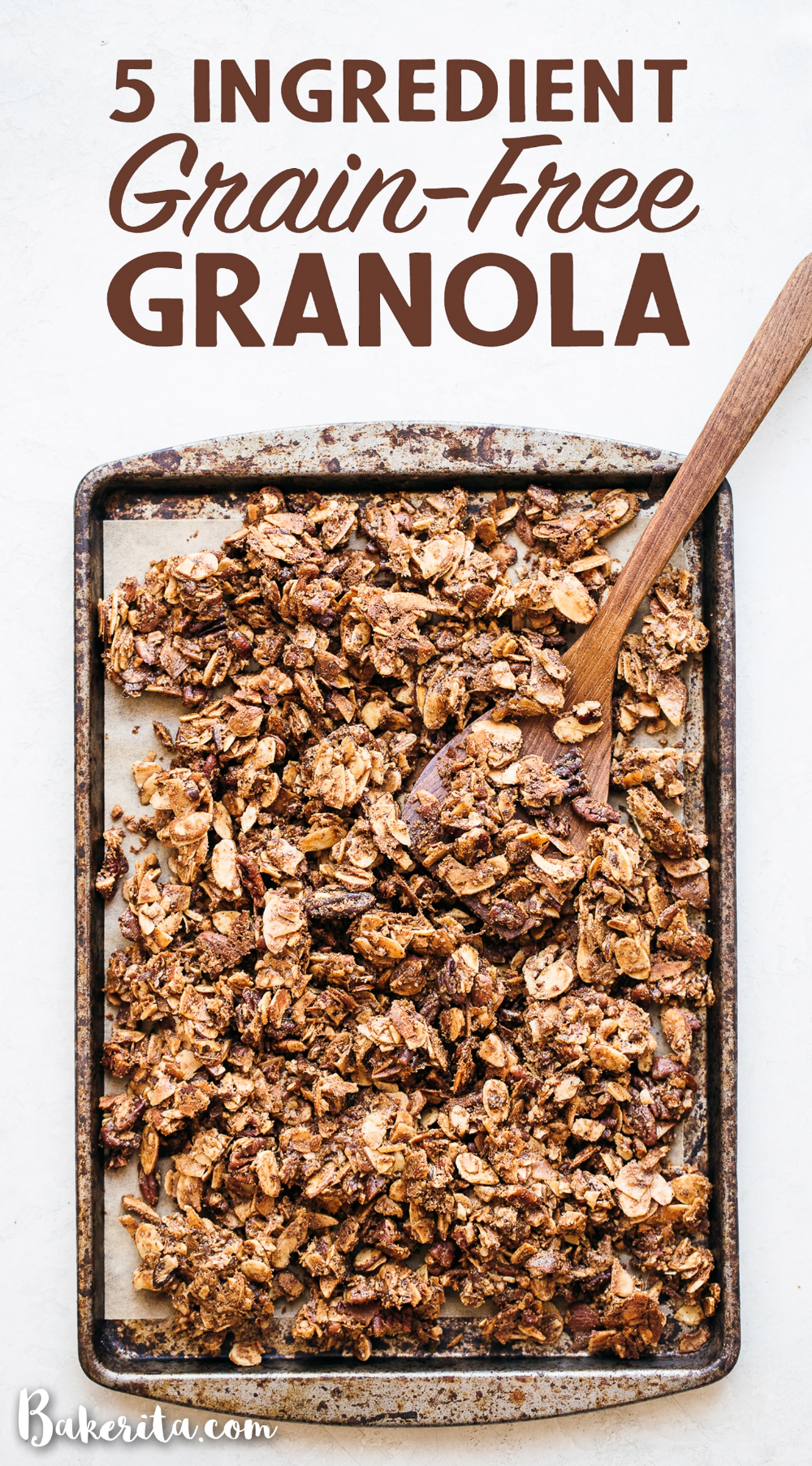 This 5-Ingredient Grain-Free Granola is the perfect simple granola recipe, minus the grains! It uses nuts and coconut in place of the oats to make a filling and delicious vegan & paleo granola. #paleogranola #grainfree #granola #grainfreegranola #vegan #5ingredients #breakfast