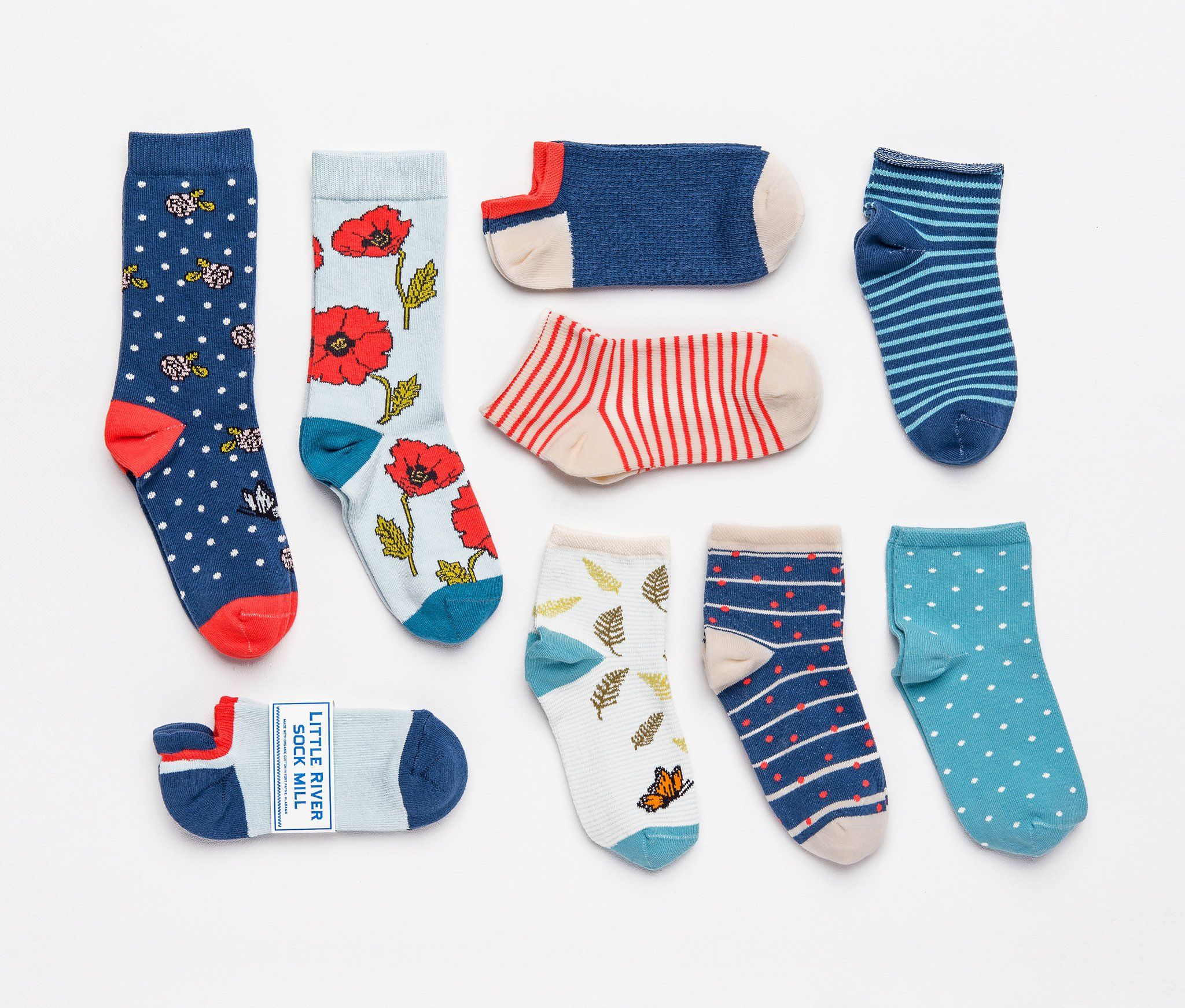 Organic cotton fashion socks made in USA, in Fort Payne