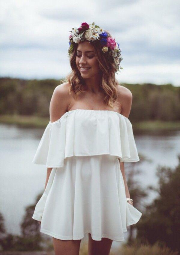 Image result for shoulder frill dress