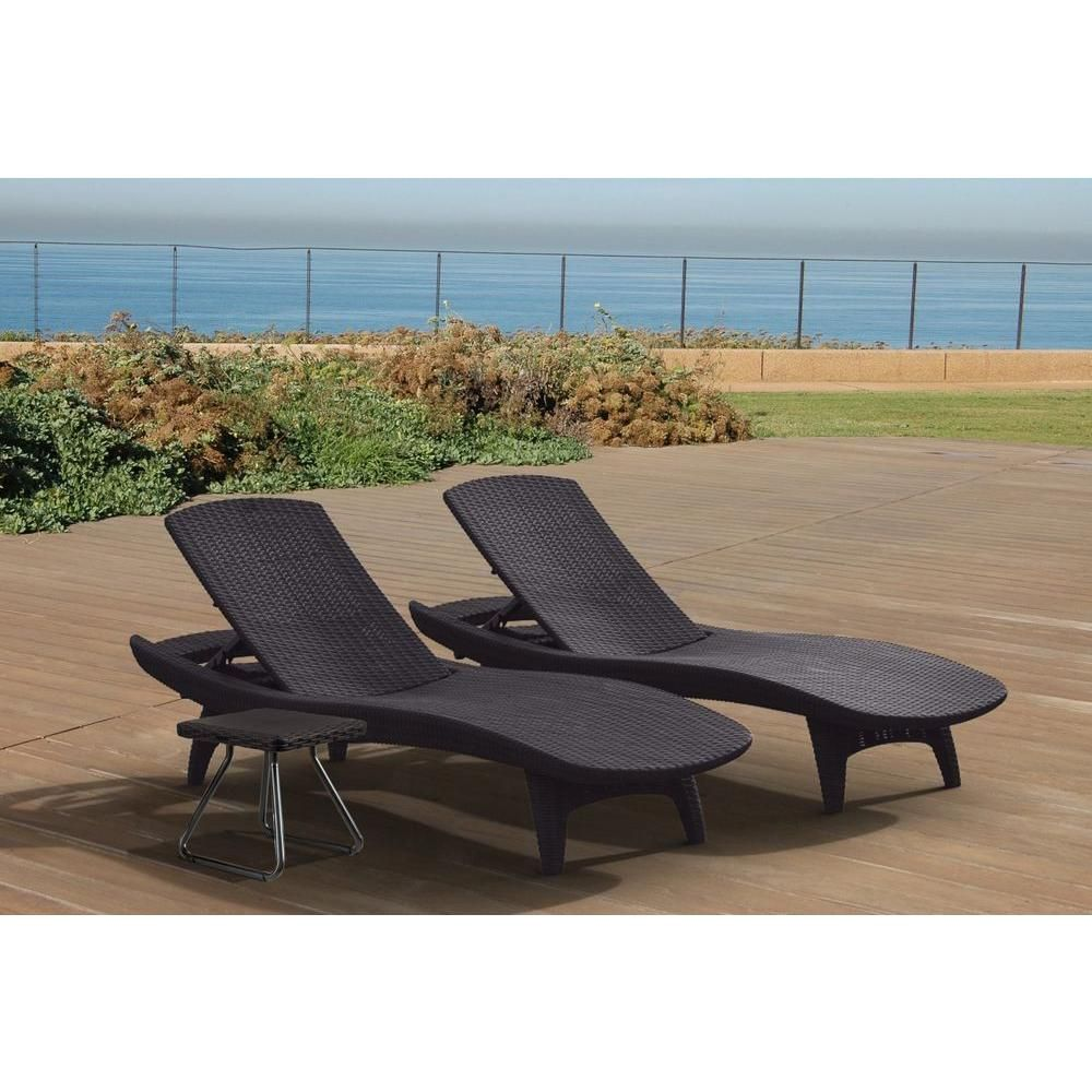 Keter Pacific Grey All Weather Adjustable Resin Patio Chaise Lounger With  Side Table (3 Piece Set)