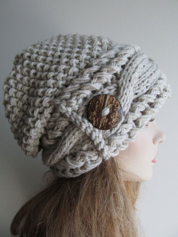 Slouchy Beanie Slouch Cable Hats Oversized Baggy Beret Button womens ...