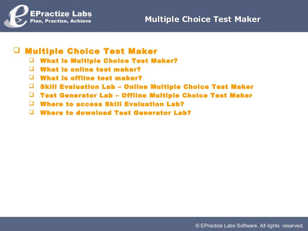 multiple choice test maker for online or offline exam management download now
