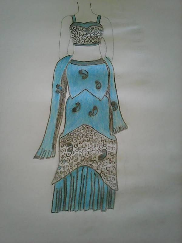 Hand Drawn fashion sketch of sexy blue dress
