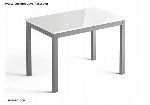 Mesa de cristal extensible para cocina o comedor Flora en ...