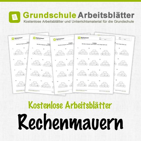 Kostenlose Arbeitsblätter und Unterrichtsmaterial zum Thema Rechenmauern im Mathe-Unterricht in der Grundschule.