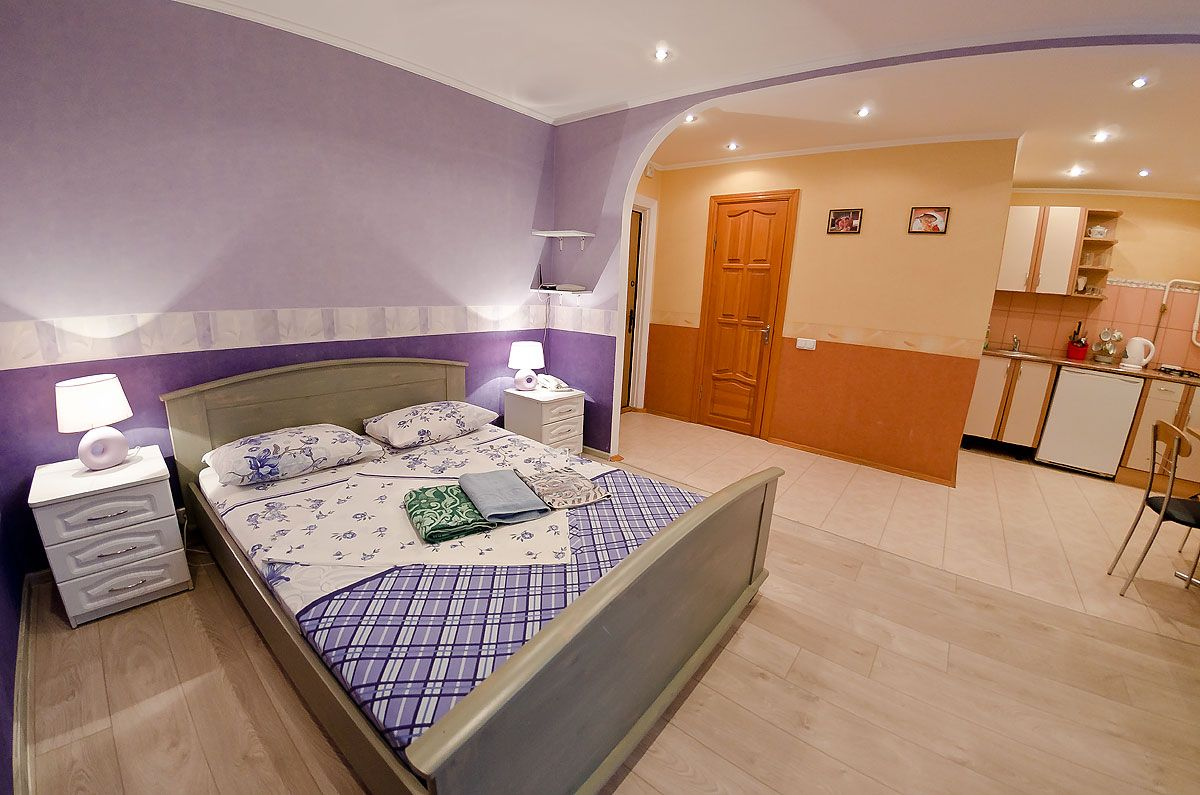 Wonderful Studio Apartment In Kiev For Rent. The Double Bed, Bedside Tables. The  Bathroom