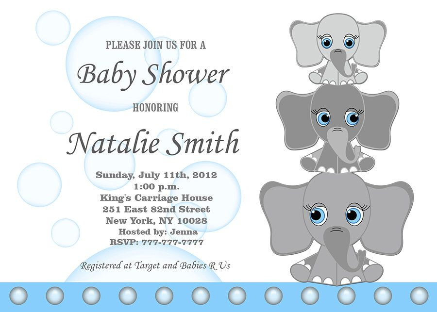 Baby Shower Invitations Elephant Girl Invitation Invite Pink