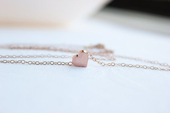 Rosa collana cuore oro, gioielli in oro rosa, delicato gioielli in oro rosa, Rose Gold cuore, regali da Damigella