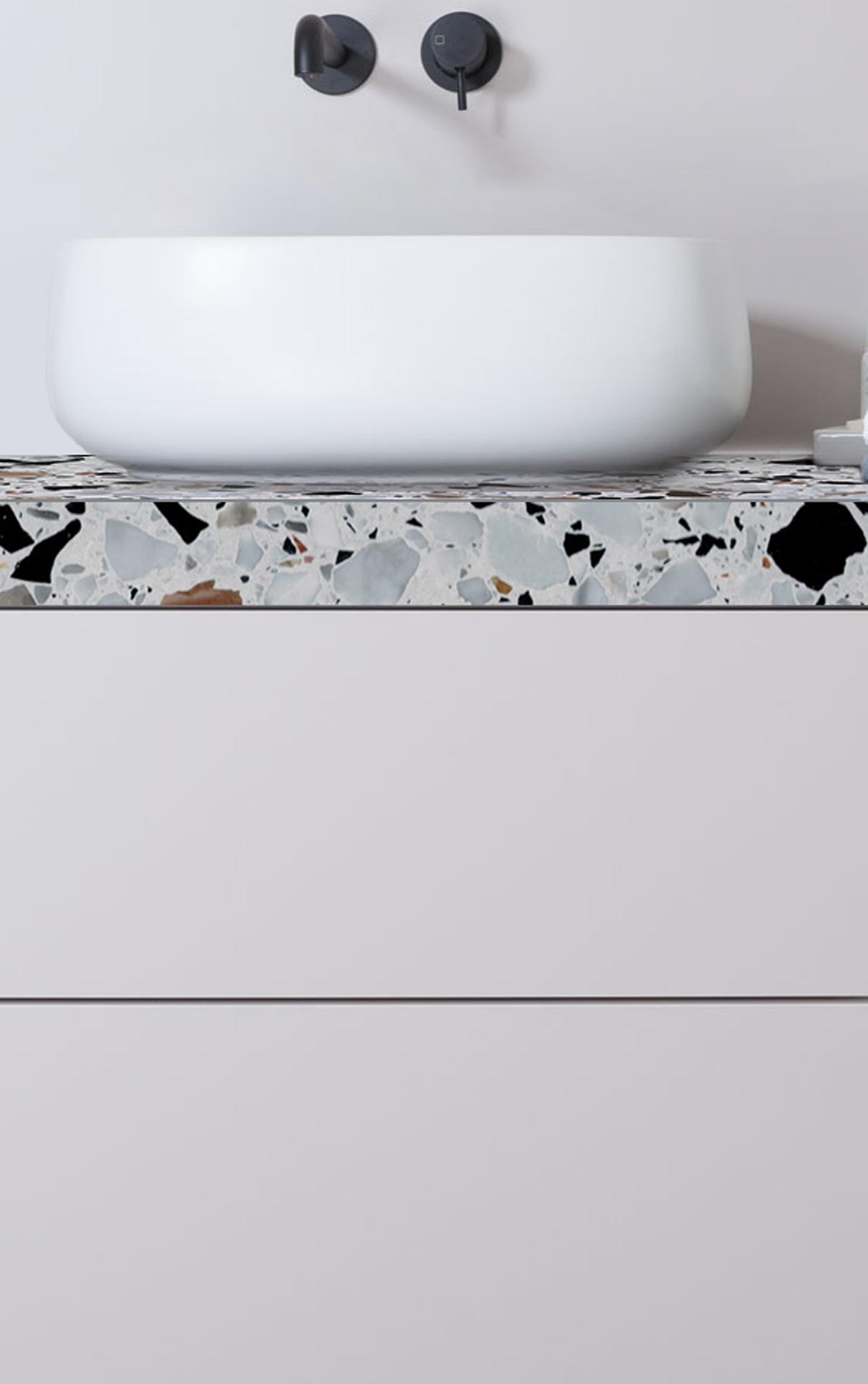 Salle De Bain Grise Blanche Et Noire ~ salle de bain meuble ne terrazzo gris bleu claire vasque poser