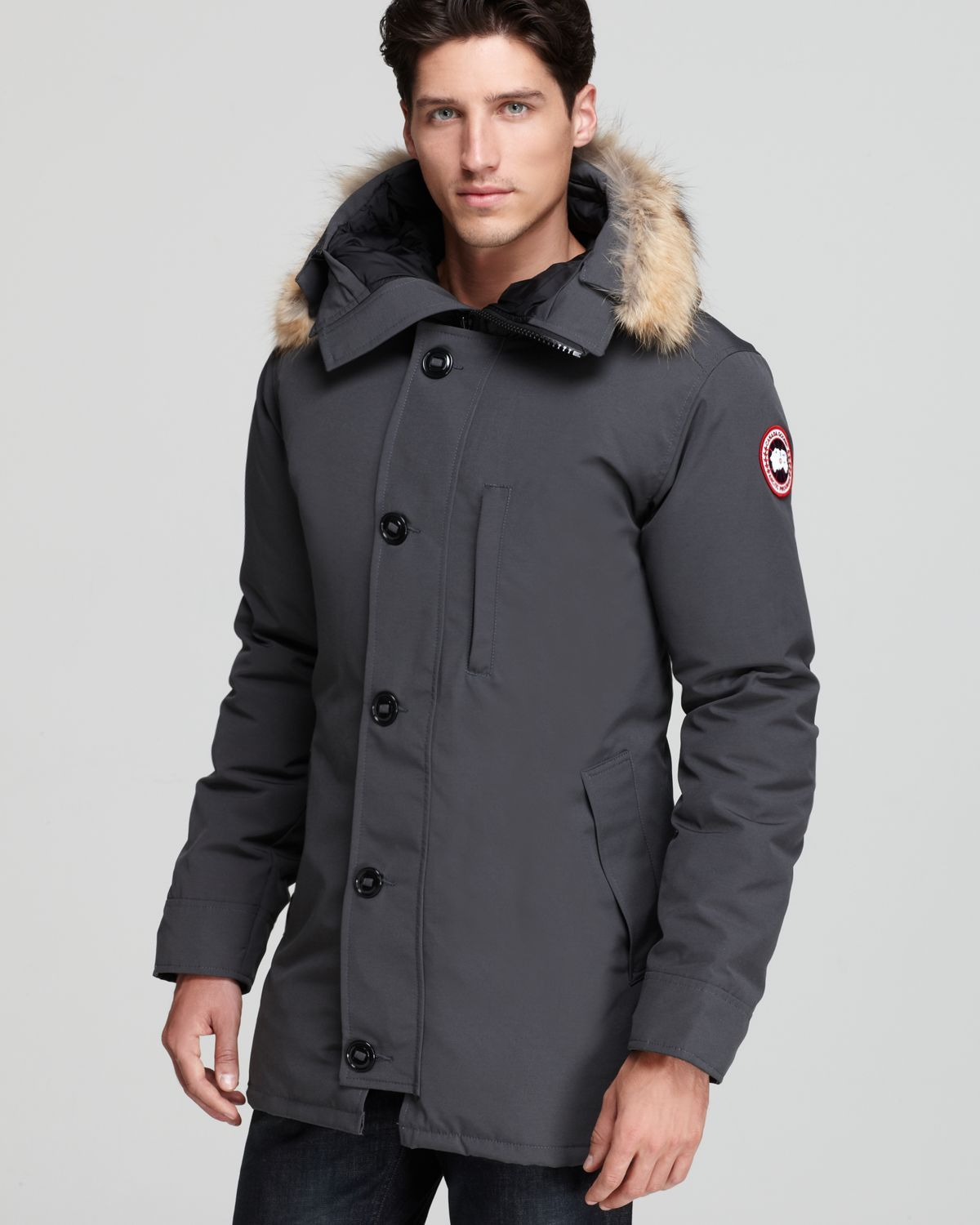 canada goose chateau parka with fur hood in gray for men graphite rh pinterest com