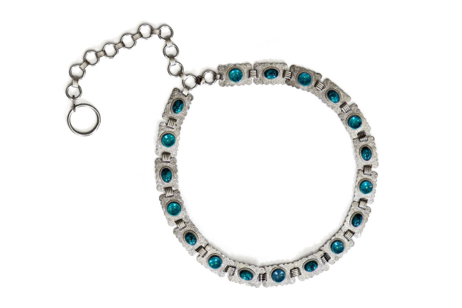 89bcb36d Concho Belt, Faux Turquoise, Silver Tone Metal, Adjustable Chain ...