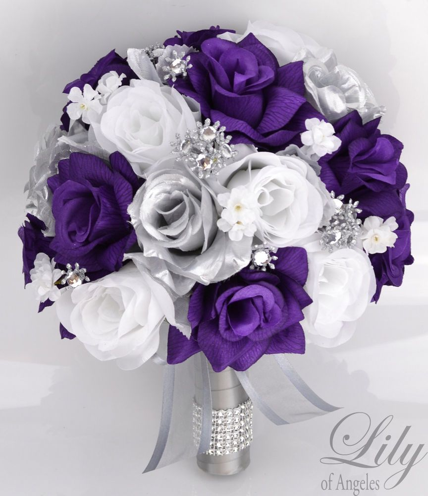 17 Piece Package Silk Flower Wedding Bridal Bouquets Sets Purple