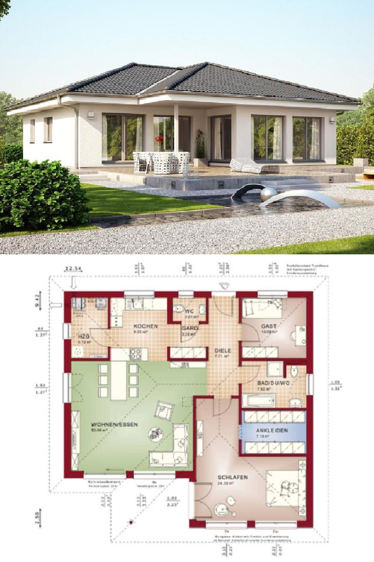 bungalow haus mit walmdach architektur terrasse winkelbungalow bauen grundriss barrierefrei. Black Bedroom Furniture Sets. Home Design Ideas