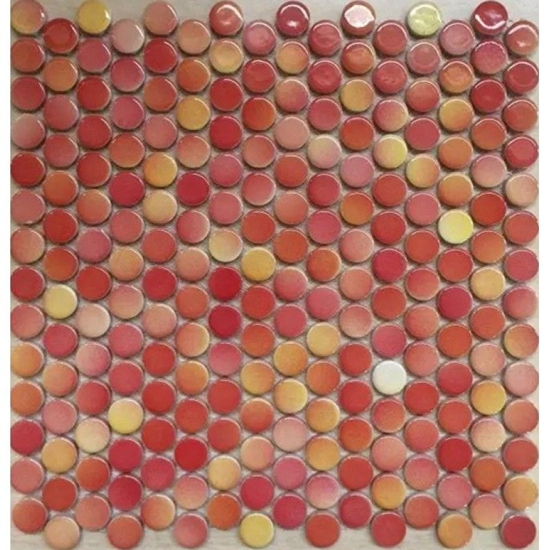 Penny Round Tile Red Porcelain Floor Tiles 35 Glossy Ceramic