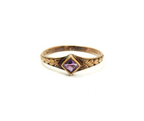 Antique c1900 14K Gold Faceted Amethyst Ornate Engraved Childs