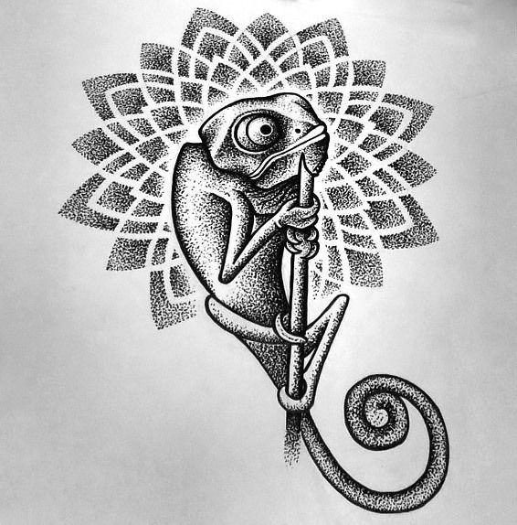Chameleon Small Tattoo: Dotwork Chameleon Tattoo Design