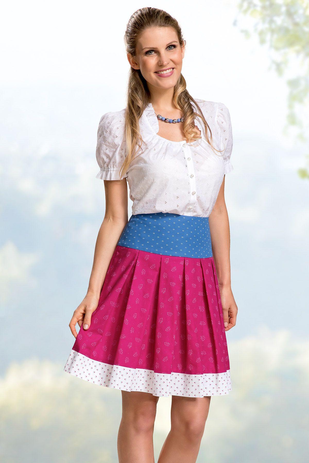866f75b205492f Trachtenrock Sommer 2019 von Hiebaum midi blau rosa weiß modern sommerlich