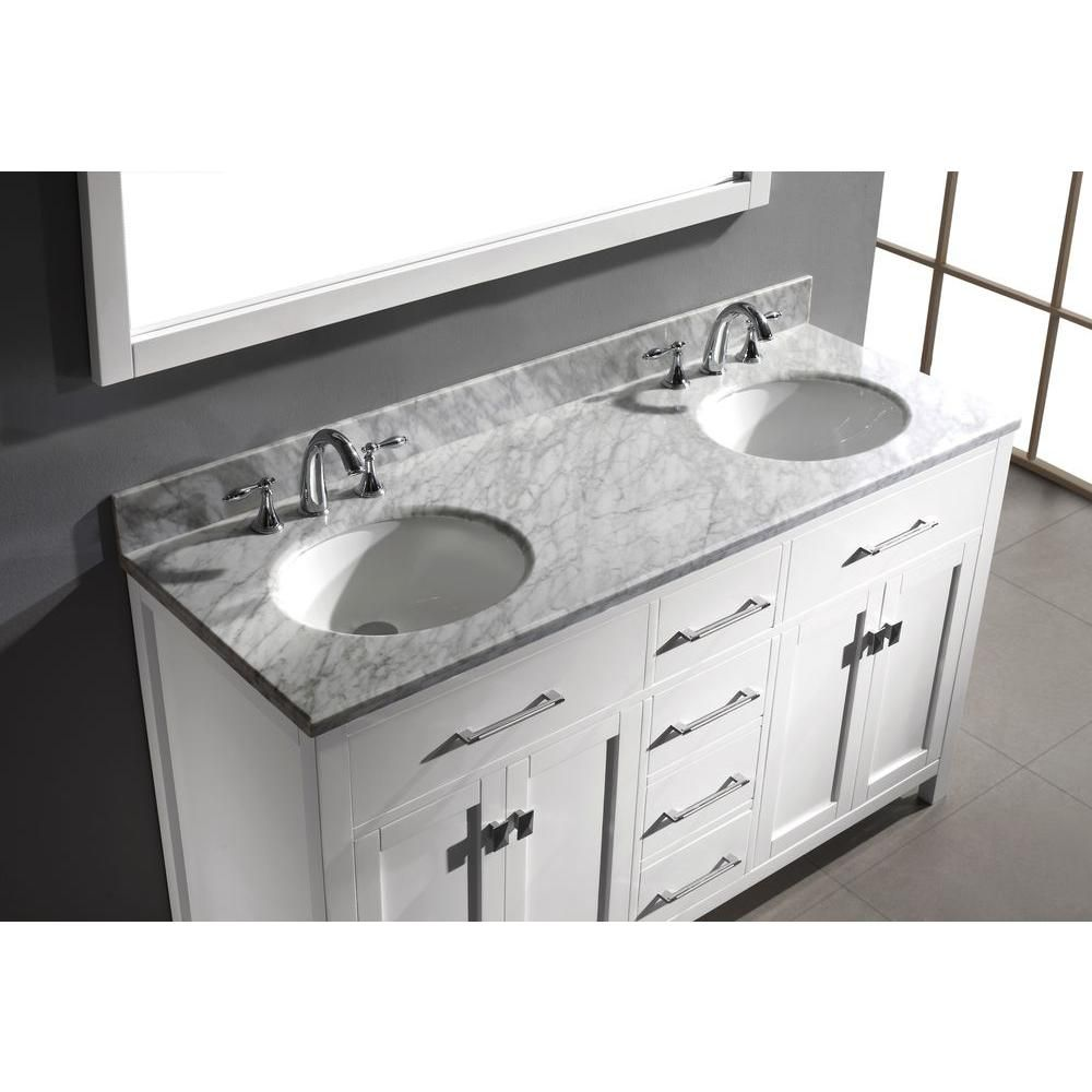 Photo Gallery For Website Virtu USA Caroline in W x in H Vanity with Marble Vanity Top in Carrara White with White Round Basin and Mirror
