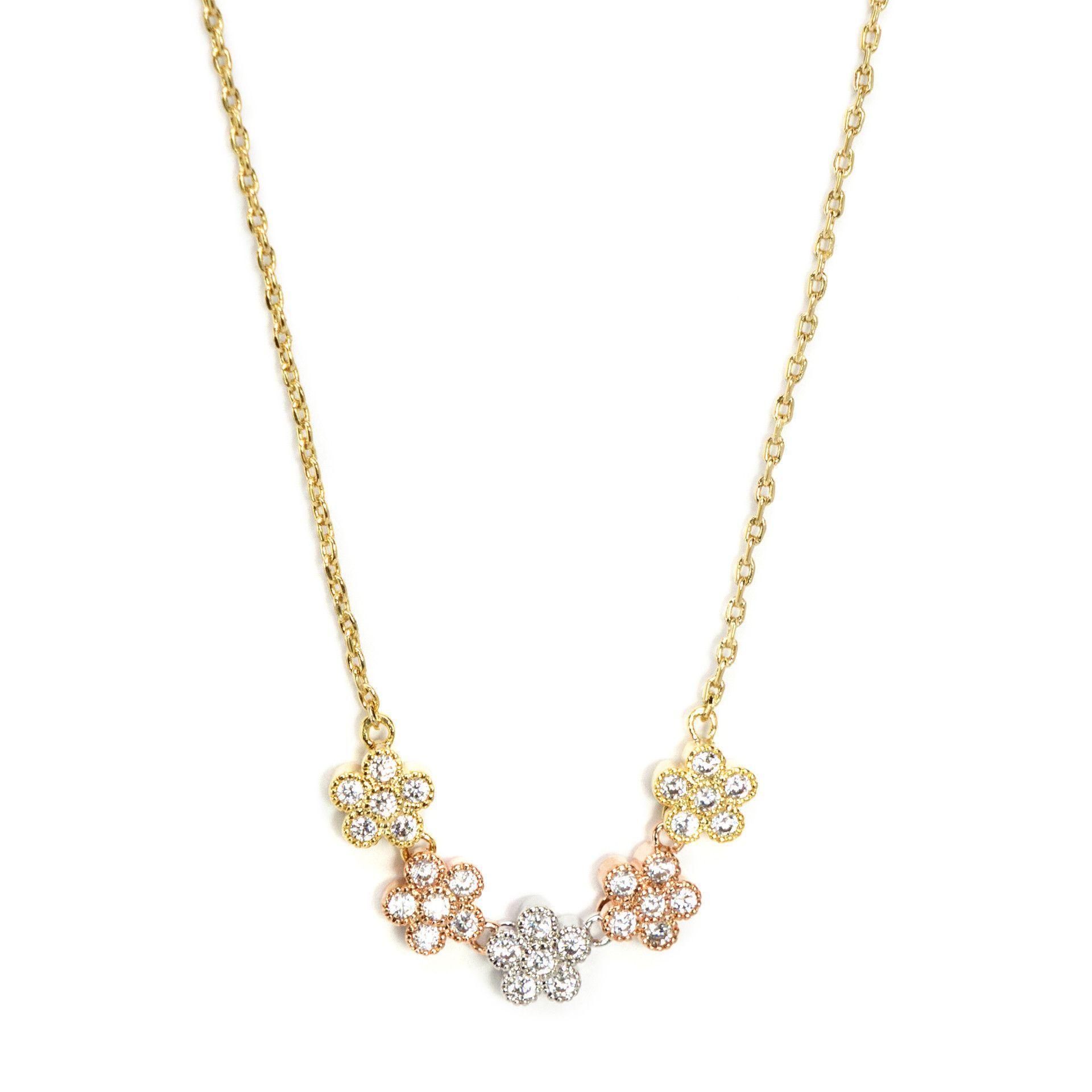 Three tone cz flower necklace