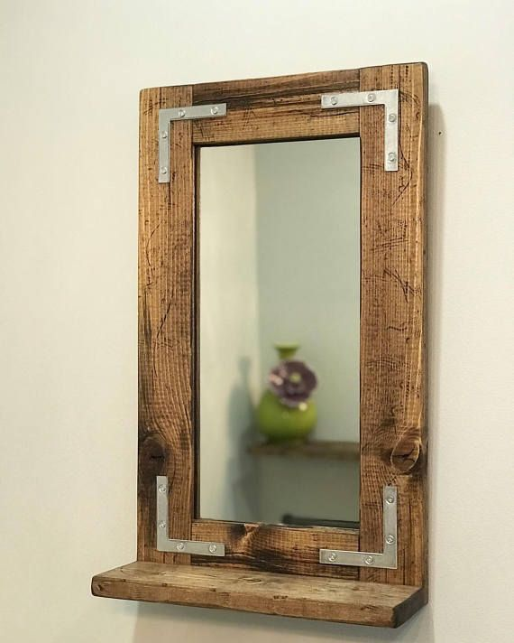 Rustic Distressed Mirror With Shelf 2 5 Wide Frame Small