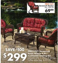 Savannah Resin Wicker 4 Pc Cushioned Seating Set From Big Lots