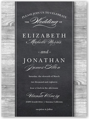 Chalk Wood Frame Wedding Invitation, Square Corners, Grey