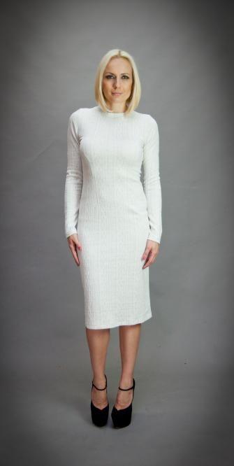 9ded98ac452 Стилна рокля в цвят екрю Aggata | Онлайн маркови дамски дрехи, мъжки дрехи  и дамски обувки. Online магазин за маркови рокли, блузи, ризи.