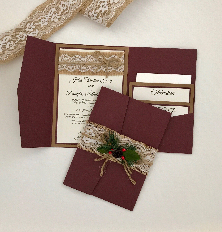 Christmas Wedding Invitation - Rustic Vintage Invitation Suite ...