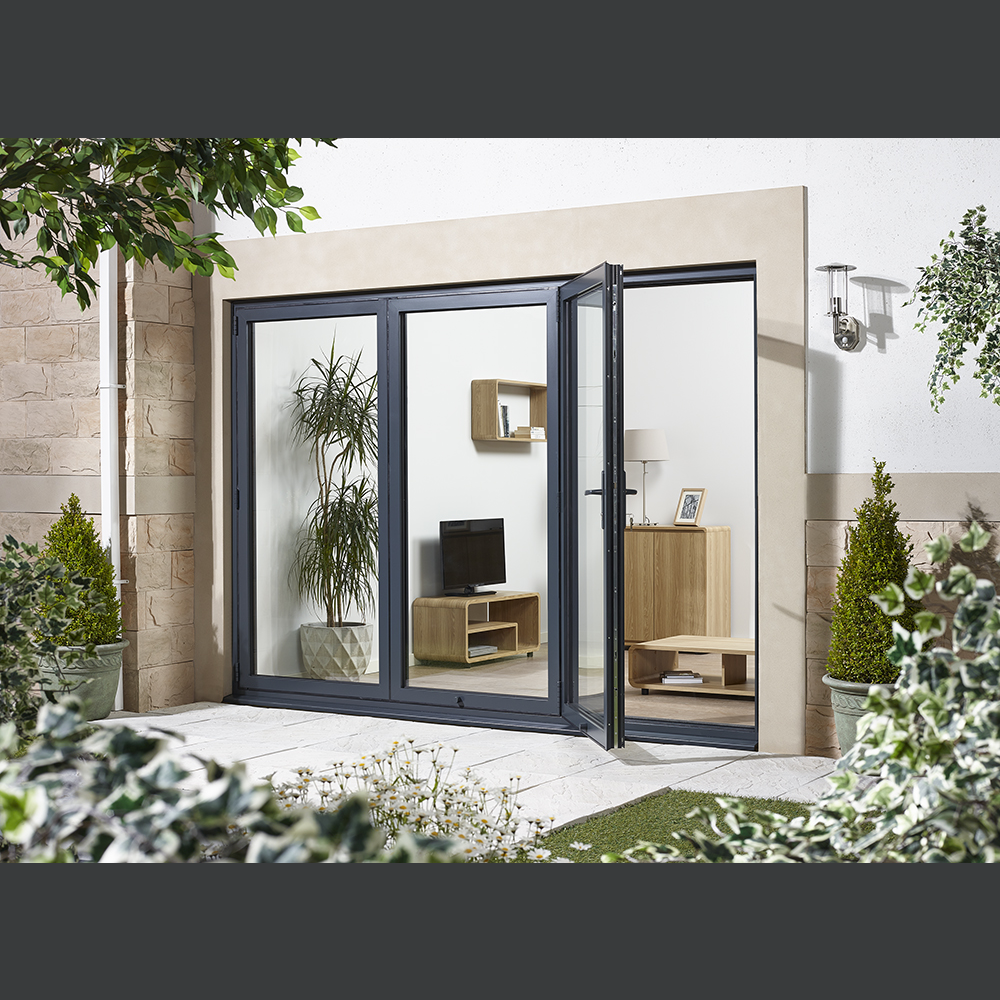 10ft Grey Aluminium Folding Sliding External Door Sets Helps Minimize Heat Transfer And Lower The Car External Doors External Bifold Doors Bifold Patio Doors