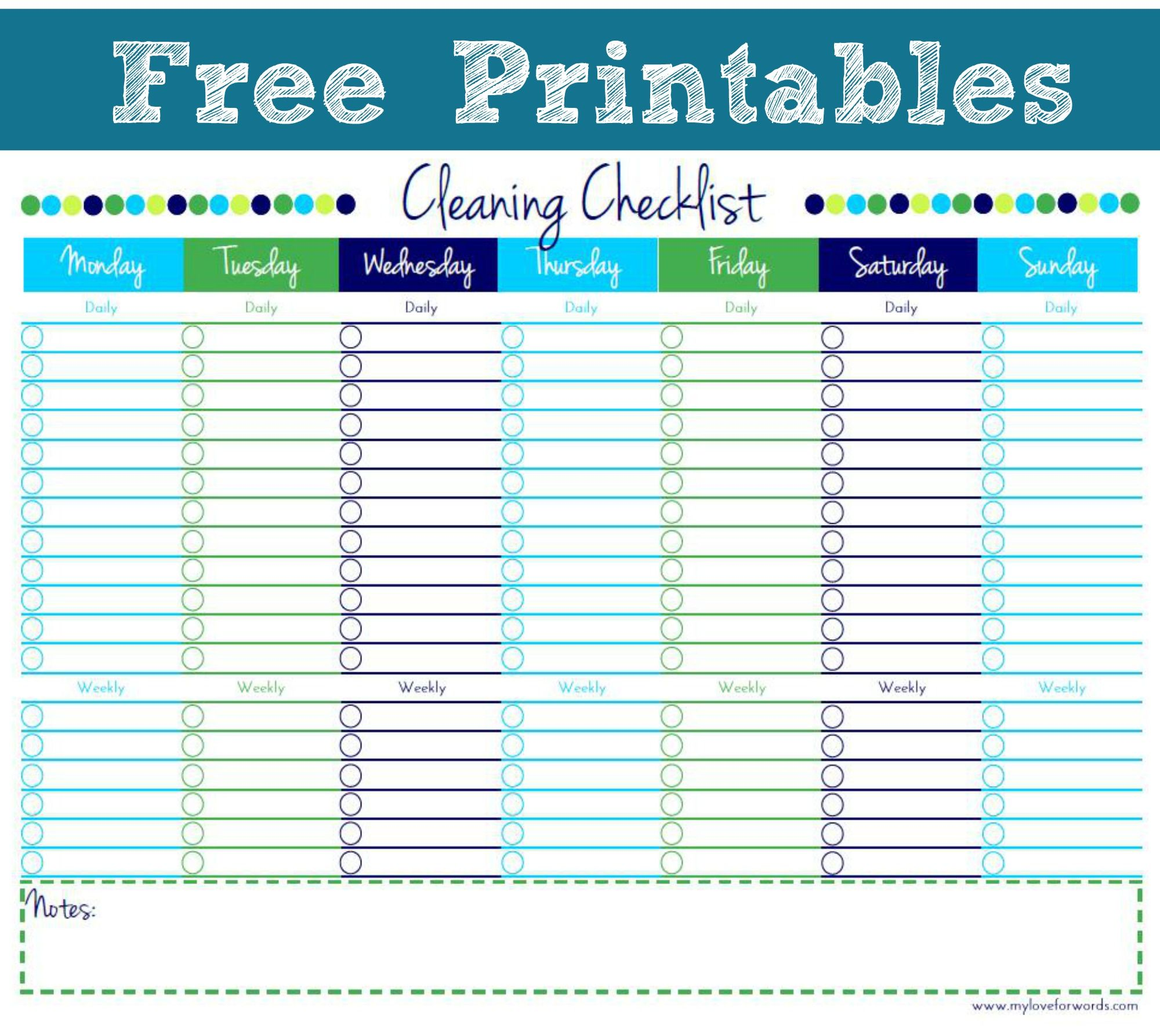 Cleaning Checklist Free Printable  Cleaning Checklist Free