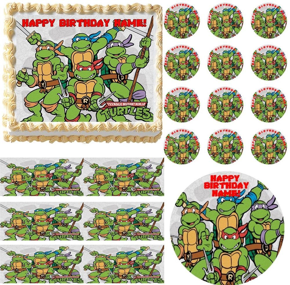 Teenage Mutant Ninja Turtles With Swords Tmnt Edible Cake Topper Frosting Sheet Professionalbakeryquality Edible Cake Toppers Cake Toppers Frosting Sheet