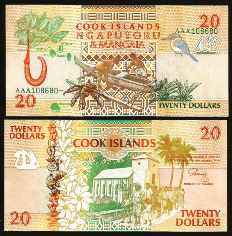 COOK ISLANDS 20 DOLLARS 1992 UNC 2 PCS CONSECUTIVE PAIR  AAA PREFIX P-9
