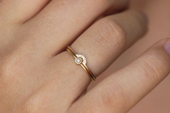 wedding ring set pearl wedding ring seed pearl ring dainty pearl ring diamond pearl engagement ring gold pearl ring thin dainty rings - Pearl Wedding Ring Sets