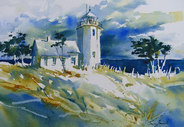 Kristina Jurick Watercolor Landscape Lighthouse Painting