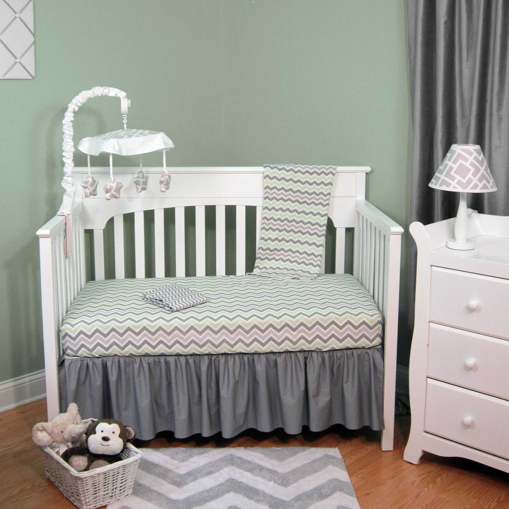 Baby cribs green - Abc Green Grey Chevron Four Piece Baby Crib Bedding Set