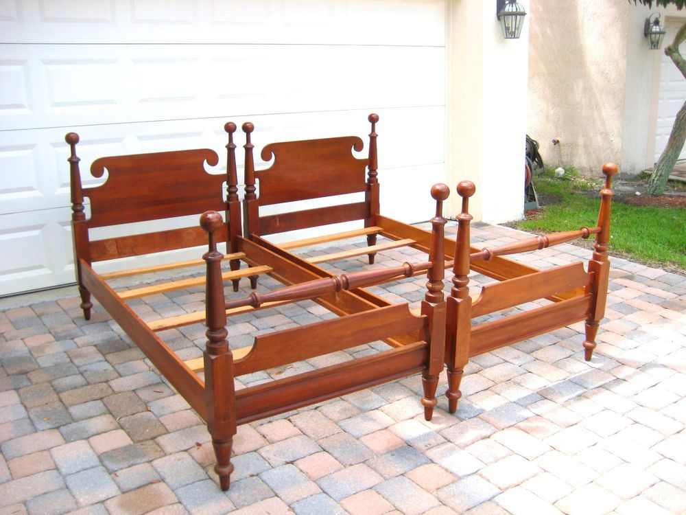 Antique Willett KY Solid Cherry Twin Beds Post Head Foot