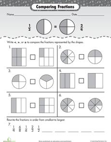 math worksheet : fraction fundamentals comparing fractions  comparing fractions  : Comparing Fractions Worksheets