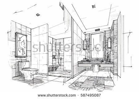 Sketch Streaks Toilet Bathroom Black And White Interior Design