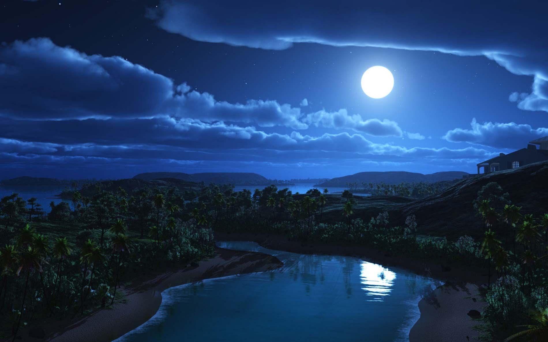 Fondo Pantalla Paisaje Luna  Noche Y Estrellas