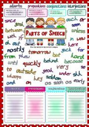 English Worksheet Parts Of Speech 2 Adverbs Prepositions