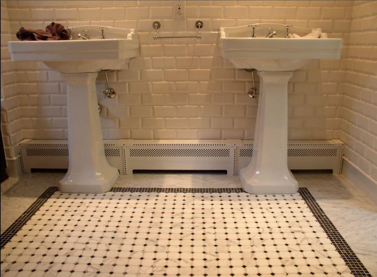 Large Black Square Pattern White Subway Tile Bathroom with Brick