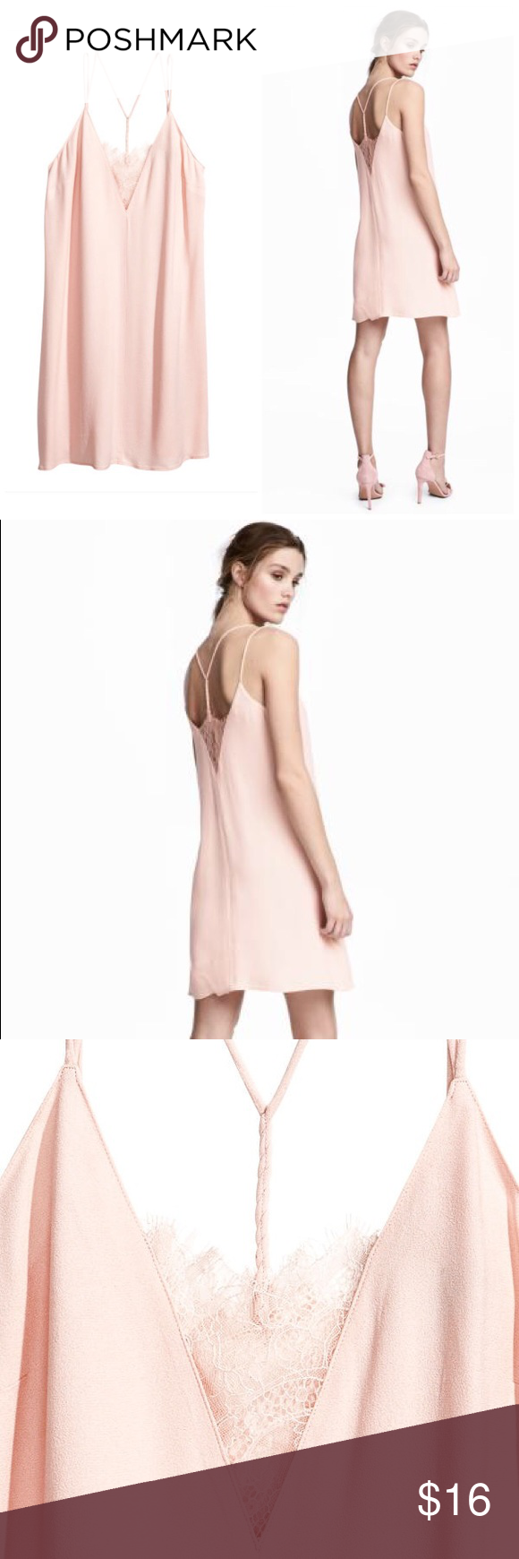 H&m dusty pink dress  NWT HuM Crepe Slip Dress NWT  Powder pink Pink shorts and Crepes
